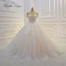 אמנדה עיצוב abiti דה sposa כבוי כתף שרוול קצר תחרת Appliqued פאייטים חתונה שמלה