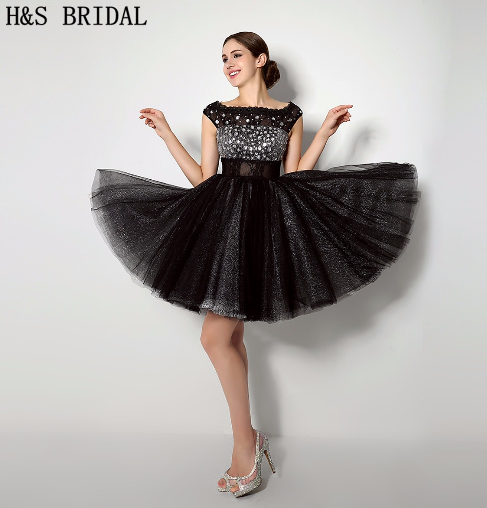 H&S BRIDAL Boat Neck Crystal Beaded Black   cocktail     dresses   Crystal Beaded Tulle   cocktail     dress   2019 robe de   cocktail