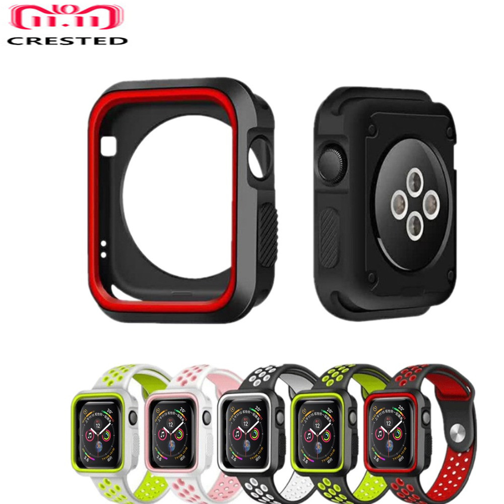 CRESTED Frame PC Case cover For Apple Watch 4 band 44mm 40mm iwatch series 3 2 1 42mm/38mm protective silicone protector shell case cover for apple watch 4 44mm 40mm iwatch strap 3 2 42mm 38mm aluminum alloy frame diamond protective shell accessories