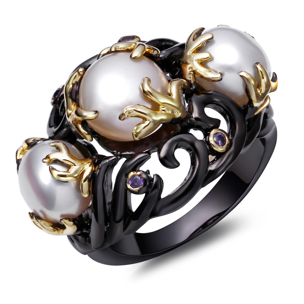 DC1989's Special Women Pearl Rings Black & Gold Plated Fresh Water Amethyst Cubic Zircon Setting Unique Fashion Lead Free - JaDen Jewelry store