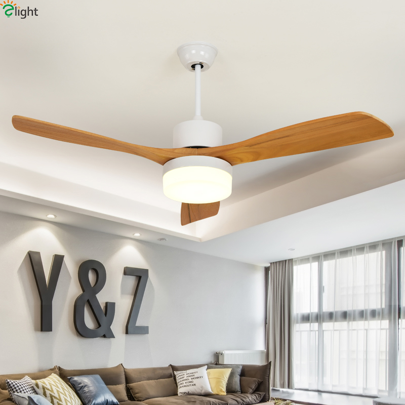Us 290 64 43 Off Nordic Wood Leaf Dimmable Led Ceiling Fans Black White Metal Dining Room Fan Bedroom Lamp Fixtures In