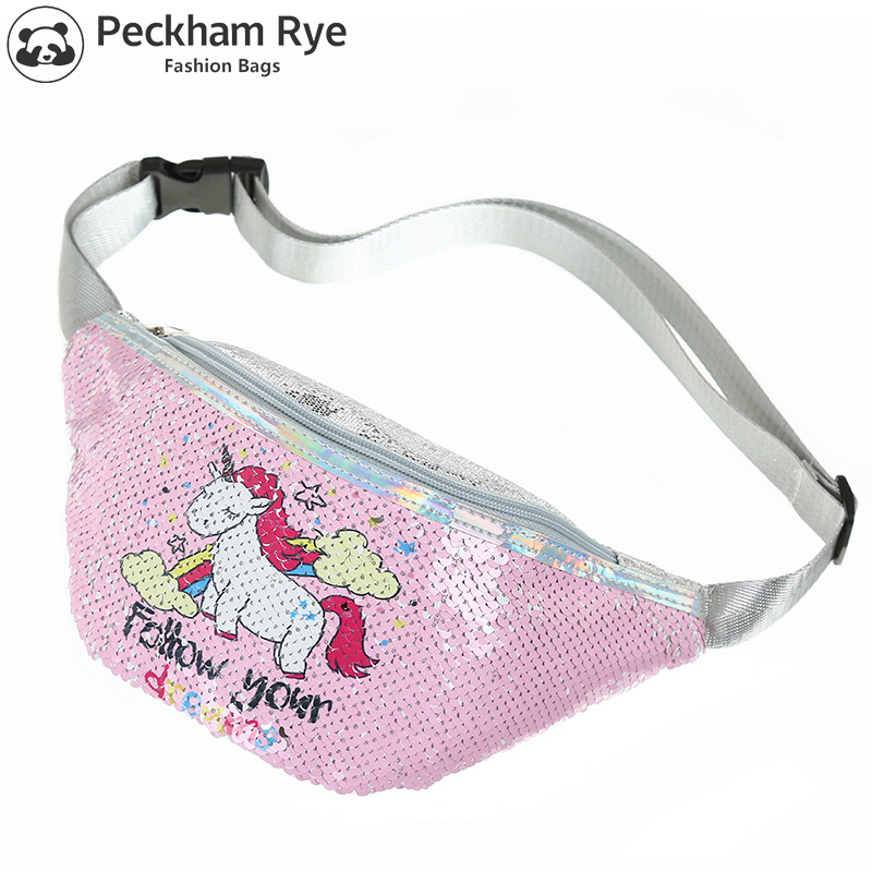 Sequins Printing Unicorn Waist Bag for Women Fashion Fanny Pack Girls Shoulder Belt Bags Kids Waist Packs Cartoon Phone Pouch(China)