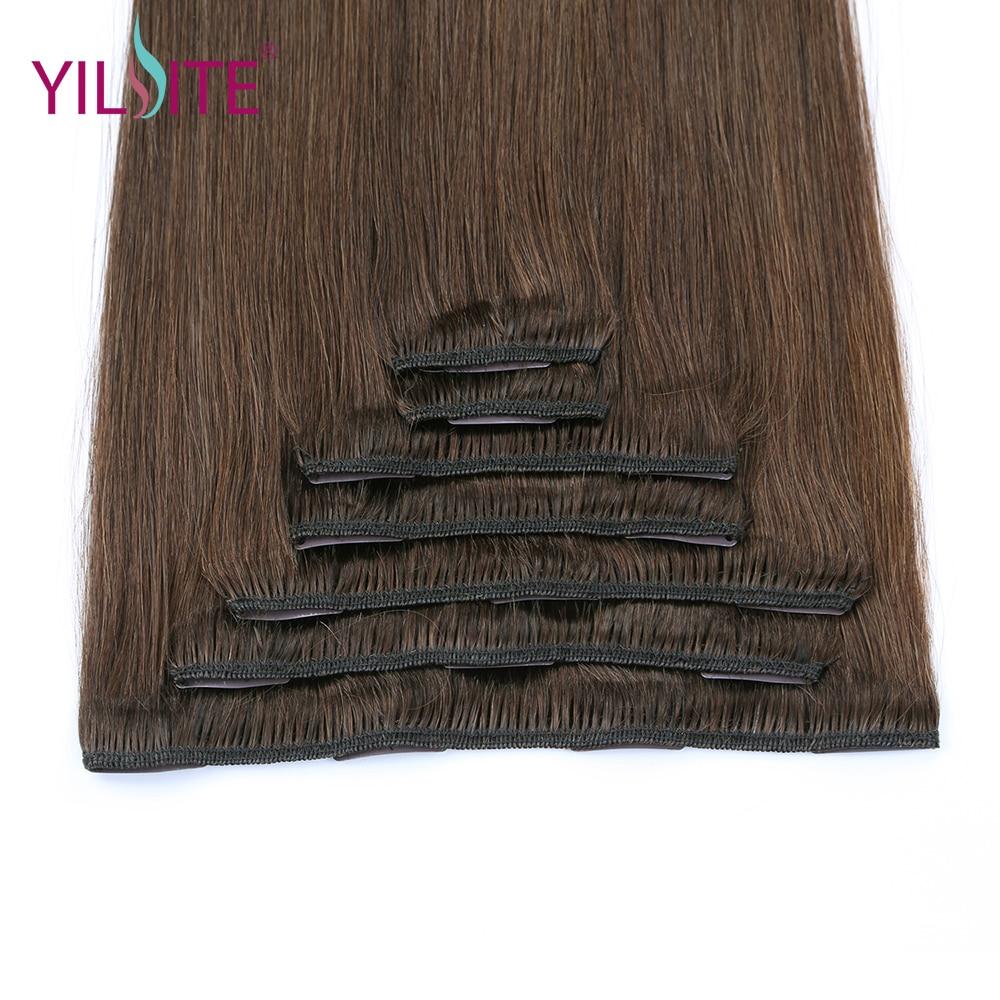 YILITE doble dibujado europeo remy cabello humano recto sedoso clip - Cabello humano (blanco) - foto 5
