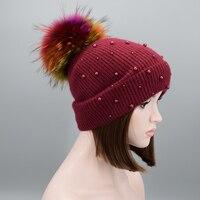 New multicolored Raccoon Fur Women's Winter Hats Girls Knitted Wool Rabbit Pearl Caps Female Headgear Pompon Skullies Beanies