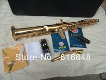 XINGHAI XSS-100 High Quality Export Gold Plated Soprano Straight Pipe Saxophone B Flat Exquisite Carved Sax With Mouthpiece Case