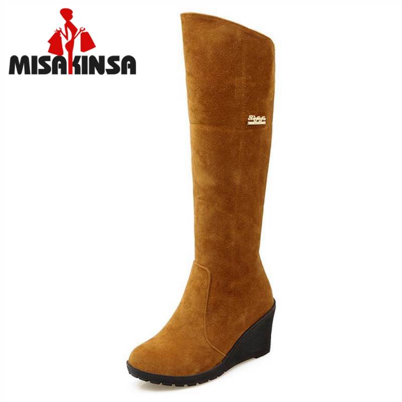 Women Round Toe Wedge High Heel Knee Boots Suede Leather Warm Fur Knight Boot Woman Heels Shoes Botas Feminina Size 34-43 snow boots women half knee boot real genuine leather new fashion keep warm fur round toe shoes woman flats shoes size 33 43