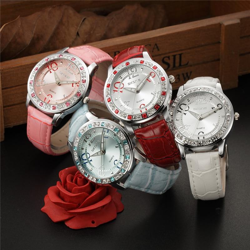 SKONE Rhinestone Watch Woman Fashion Designer Leather Strap Quartz-watch Ladies Luxury Brand Women Watches Lady Reloj Mujer