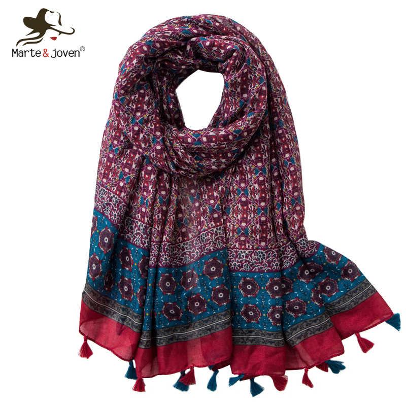 Marte&Joven Ethnic Retro Style Mini Flower Print Scarves Women Bohemian Long Beach Wrap Shawl