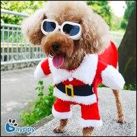 Mascotas Perros Ropa de navidad Creativo Divertidos Trajes de Santa Traje Rojo cálido y Cómodo Escudo con el Sombrero Lindo Para las Pequeñas y Medianas perro