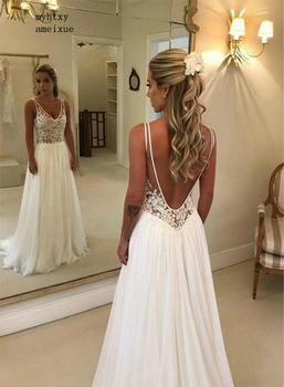 Sexy Backless Boho A Line Deep V Neck See Through Top Lace Summer Beach Bridal Gown Plus Size Cheap Simple Wedding Dress 2020 boho wedding dress 2020 a line lace applique sexy backless bridal dress beach wedding gown plus size custom made