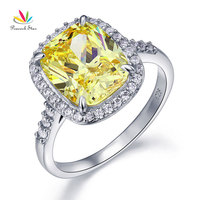 Peacock Star Solid 925 Sterling Silver Luxury Ring 6 Ct Cushion Yellow Canary Created Diamante CFR8151