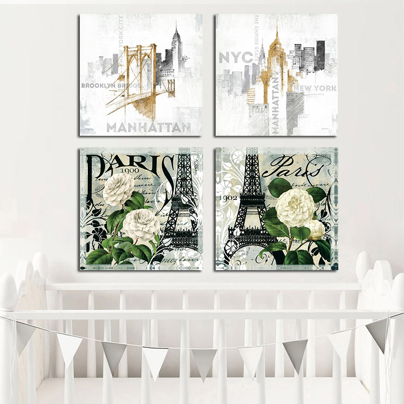 PARIS Eiffel Tower Wall Art Canvas Abstract Brooklyn Bridge Skyscraper Landscape Painting Poster Print Pictures For Living Room