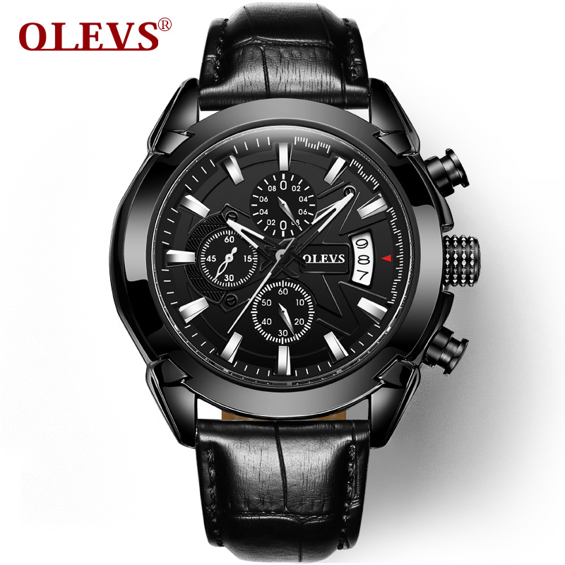OLEVS Fashion Men Military Wristwatch Quartz Sports Watches Top Brand Luxury Watch Black 2017 Male Clock hour Reloj Hombre 2016 luxury wristwatch black leather belt male automatic watch men s sports watch black face