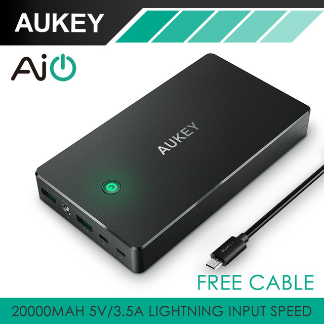 Aukey 20000 mah pacote externo portátil da bateria de carregamento rápido banco de potência com duplo usb para xiaomi huawei meizu tablets smartphone