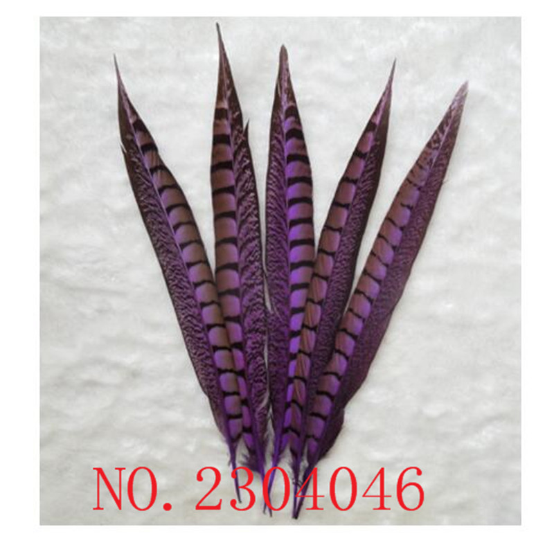 Wholesale natural 14 16 inch (35 40CM) copper chicken side pheasant feathers dyed purple 50 DIY headdress accessories