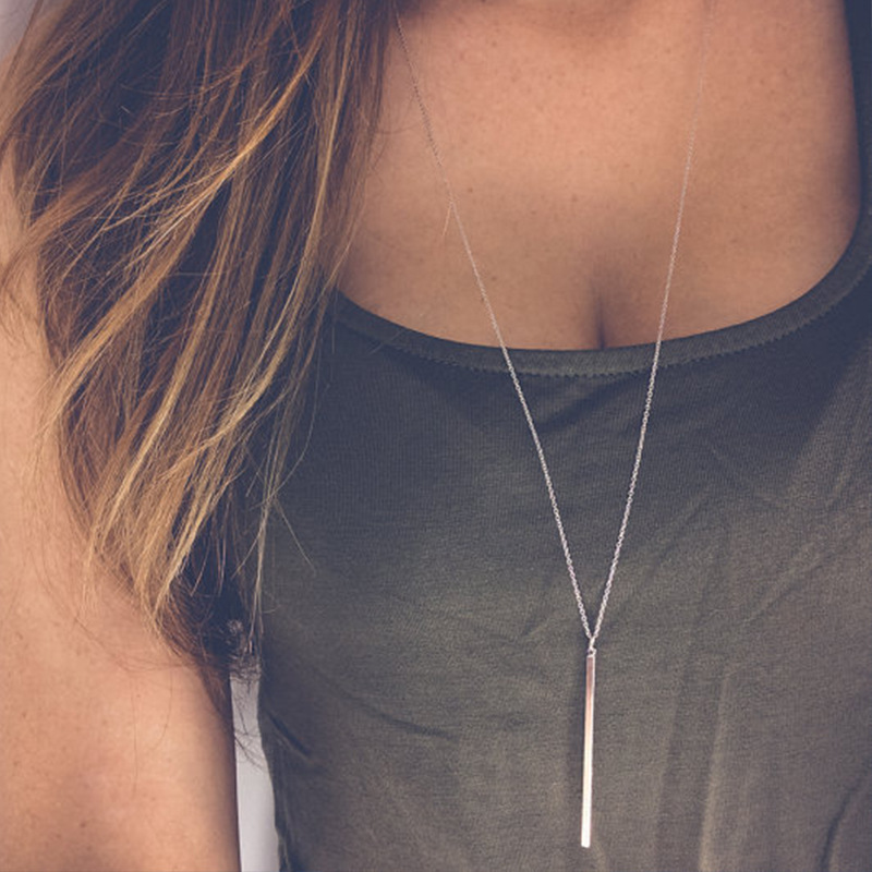 Hot Simple Stick Pendant Bar Long Necklace Hollow Girl Long Link Chain Square Copper Necklaces Long Strip Jewelry for Women Gift(China)