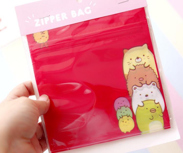 Image 2 - 1pack cute Japanese Anime Sumikko Gurashi Corner Creature Self sealing bag Anime Cosmetics Travel storage bag Figure Toys-in Action & Toy Figures from Toys & Hobbies
