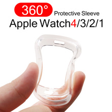 цена на New transparent case, suitable for apple watch series 1,2,3,38 mm 42 mm series 4,40 mm 44 mm 360 built-in transparent protective
