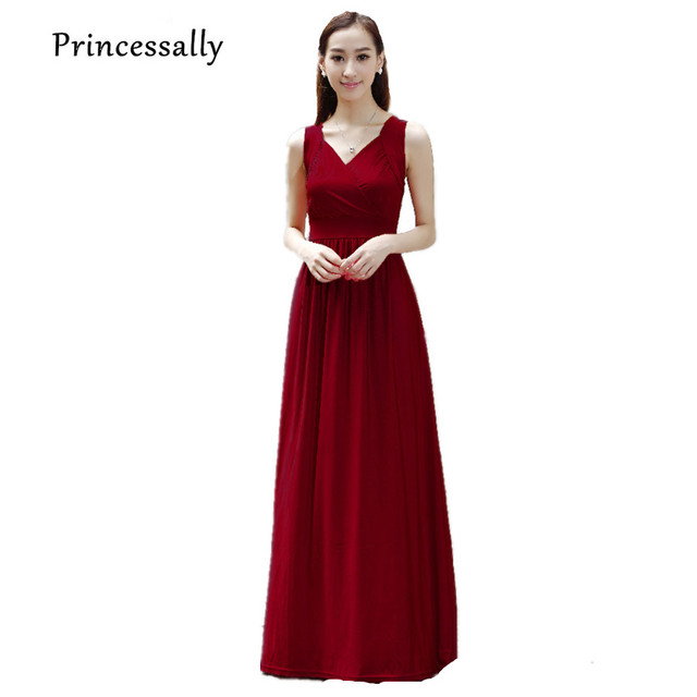 Wine Red Bridesmaid Dress Long For Evening Wedding Party Formal Maternity Pregnant