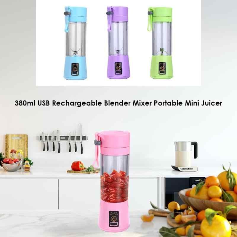 380 ml Recarregável USB Misturador Liquidificador Smoothie Maker para Uso Doméstico Portátil Mini Espremedor de Frutas Máquina de Suco Extrator De Suco De Pequenas