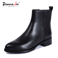 Donna-in/Черные ботильоны, обувь из натуральной кожи, женские ботинки, Осень-зима 2019, острый носок, роскошная Брендовая обувь, женская обувь на к...