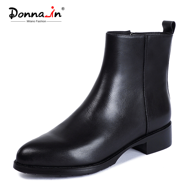 Donna-in Black Ankle Boots Genuine Leather Shoes Women Boots Autumn Winter 2019 Pointed   Toe Luxury Brand Shoes Women Heel Fur