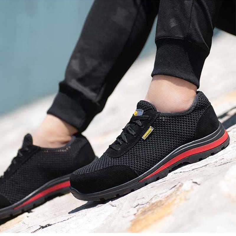 Летняя мужская и женская модная обувь с дышащей сеткой; защитная обувь со стальным носком; нескользящая черная уличная защитная обувь с защитой от проколов