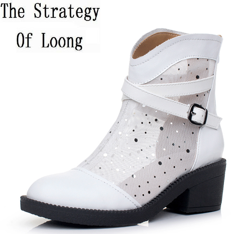 Genuine Leather Low Heel Grenadine Cut Out Summer Women Sandals Boots Lady Gauze Buckle Pearl Ankle Boots Plus Size 34-43 SXQ525 цены онлайн