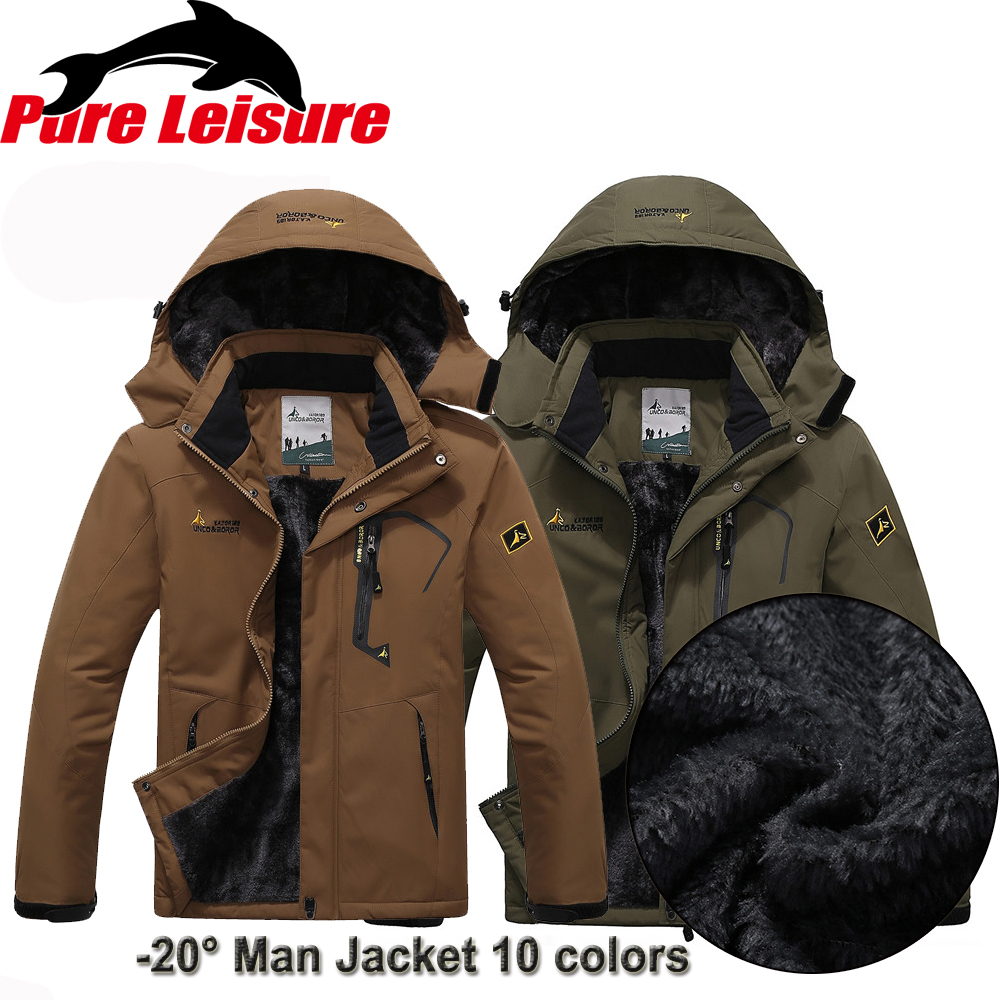 PureLeisure L 6XL Fishing Jackets Men 55 135kg Windbreaker Camping Skiing Hunting Overcoat Winter Thermal Fleece