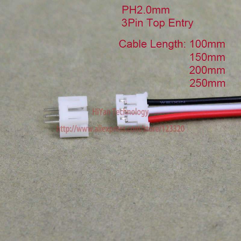 50sets Mini Micro PH2.0 JST 2.0mm Pitch 3Pin Top Entry Connector with 1007 26AWG 100mm To 250mm Electronic Wire Cable Pin header