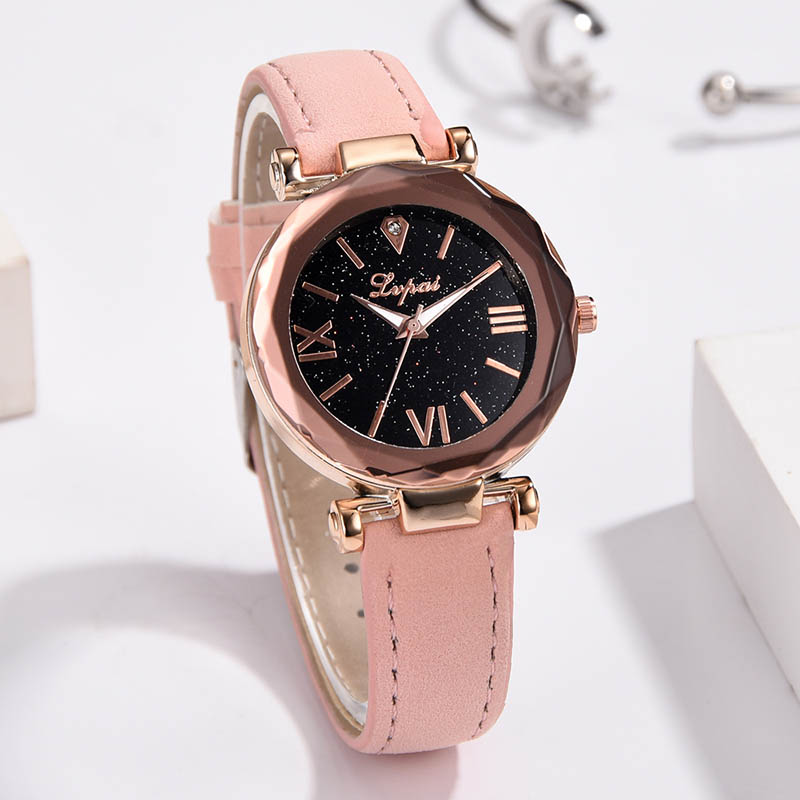 Women Watches Starry Sky Masonry Quartz Watches Roman Dial Frosted PU Leather Band Watches Dropshipping  LXH