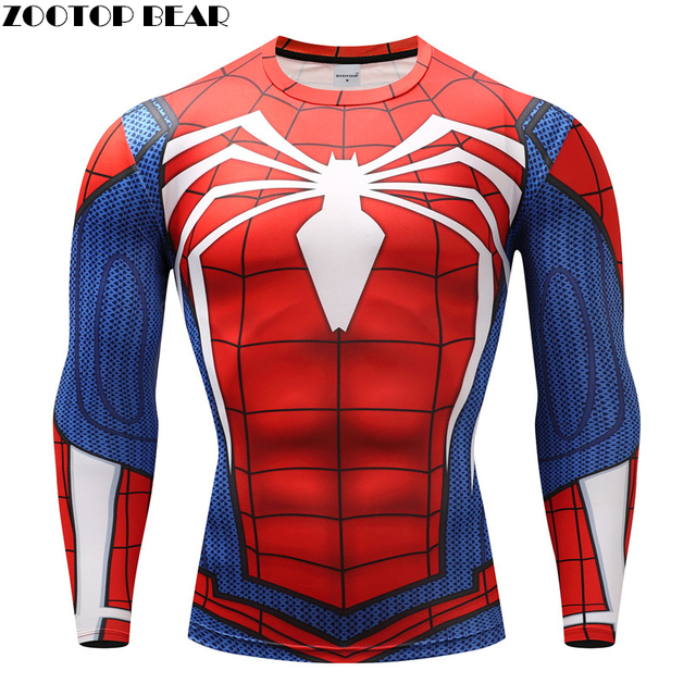 Spiderman T shirt Pria Kompresi T-shirt Kebugaran Spider Man T-shirt Binaraga Top Hot Sale Crossfit rashguard Merek