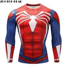 Человек-паук футболки Для мужчин сжатия футболки Фитнес Человек-паук футболки Бодибилдинг Топ Лидер продаж Crossfit Рашгард бренд