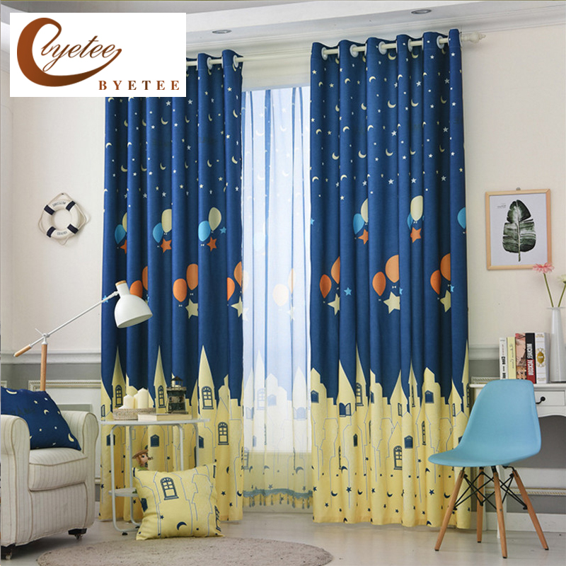 {byetee} Blue Printed Cartoon Bedroom Window Curtains Fabrics Drapes for Children Cortinas Infantiles Boy Kids Bay Curtains