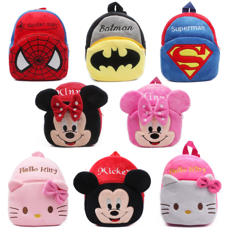 New Girls Pink Schoolbag Cartoon Design Lovely Mickey Minnie Plush Backpack For Kids