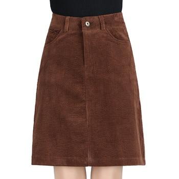 Fall Winter Casual Women Brown Black High Waisted Corduroy Skirt 2018 Autumn Spring 3xl 4xl