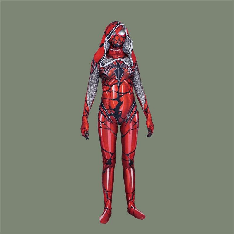 NORIVIIQ Удивительный Человек-паук яд красный плащ Косплэй для взрослых девочек Ролевые костюмы цельный комбинезон производительность шоу