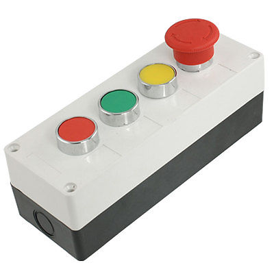 Ui 660V Ith 10A Yellow Green Red Momentary Push Button Switch Station green red yellow 3 flat push button momentary switch station