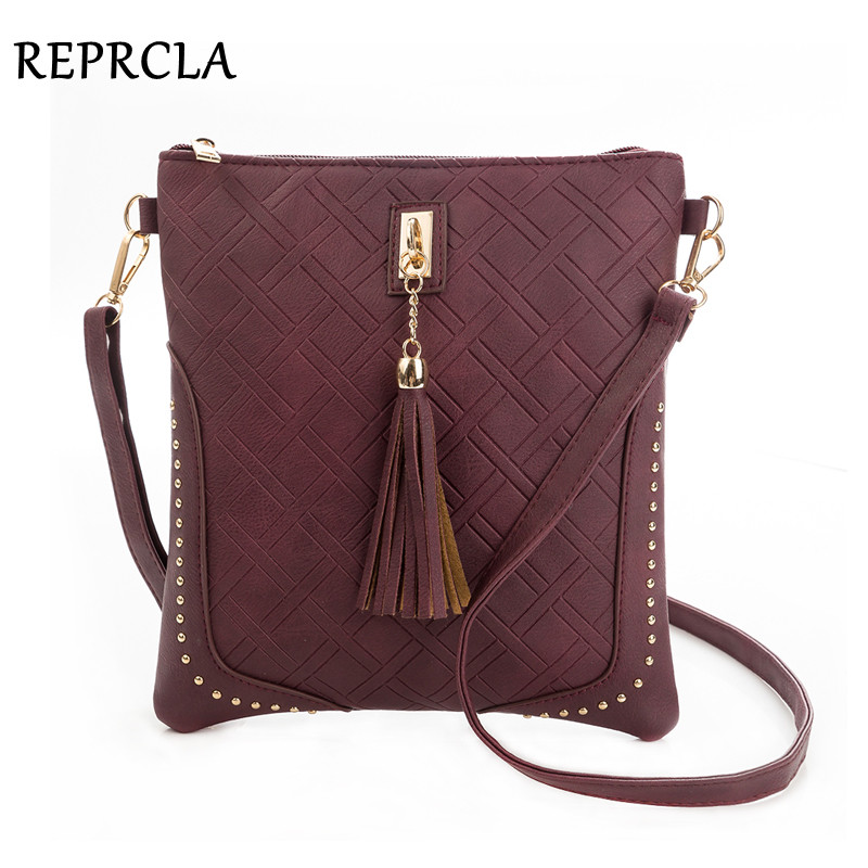 REPRCLA Designer Plaid Women Messenger Bags Fashion Tassel Flap Shoulder Bag PU Leather Women Bag Crossbody Bolsa Feminina kmffly red thread women shoulder bags designer pu leather messenger bags female luxury casual flap crossbody bags bolsa feminina