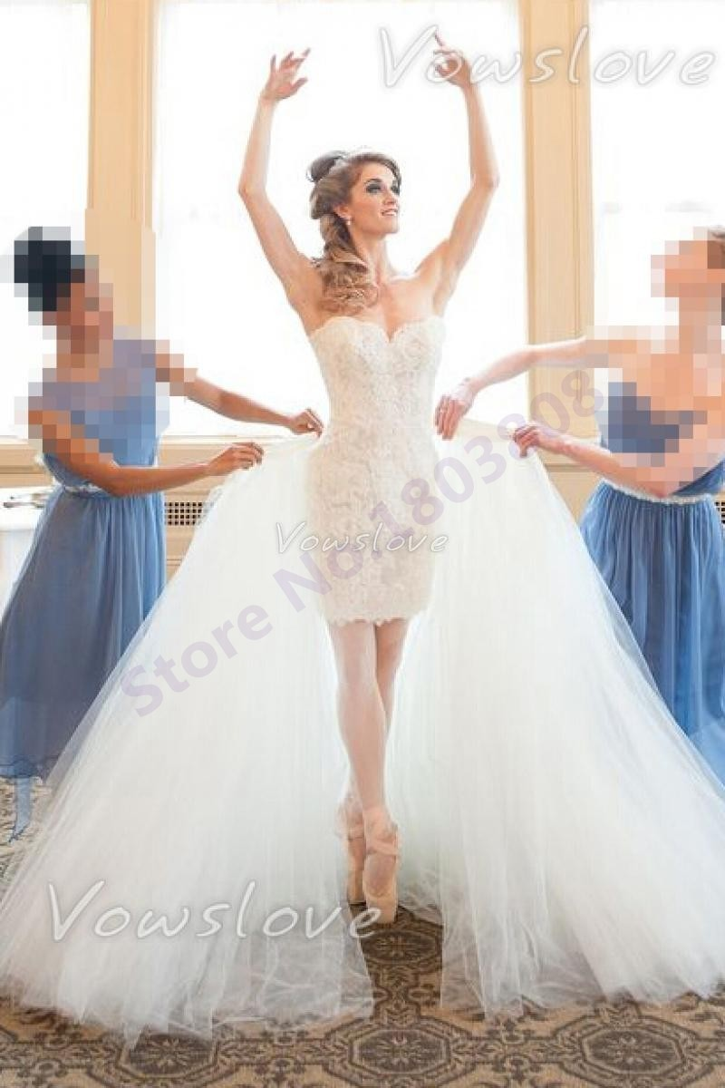 New Fashion White Wedding Dress Detachable Train Sweetheart Neck Sleeveless Aline Short Lace: Short Wedding Dresses Sheer Train At Websimilar.org