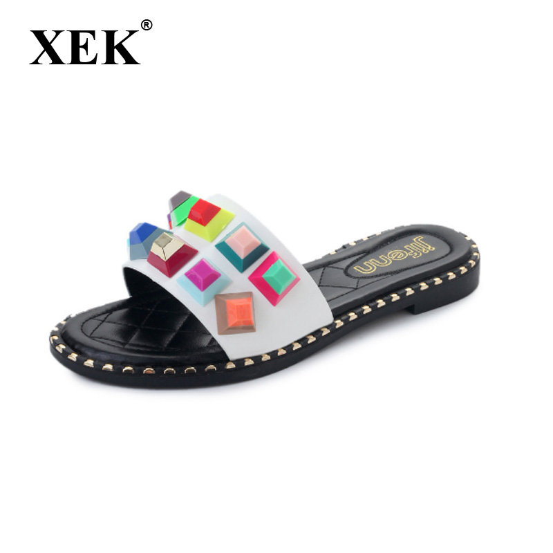 Detail Feedback Questions about XEK women sandals summer mixed colorful  shoes exposed toe mules female home slippers flat black white shoes punk  style GSS69 ... 45d7f84c45a4