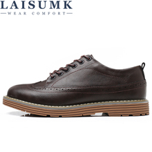 Merkmak Black Men Dress Leather Shoes Brogue Italian Style Formal Footwear Larger Size 46 Bullock Casual Shoe Flats for Man