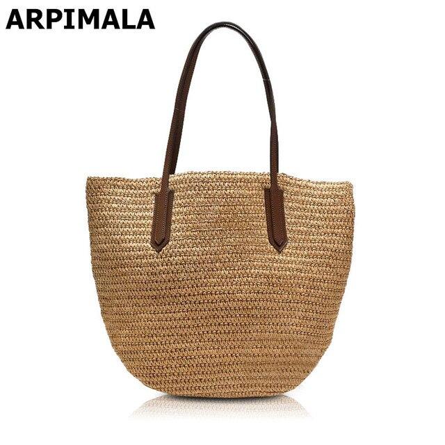 Arpimala 2018 Famous Brand Designer Beach Bag High Quality Women For Vacation Travel Straw