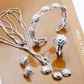 925 серебряных ювелирных изделий устанавливает, Трехслойных серебряный цветок роза, Ожерелье браслет, Серьгу кольцо S268