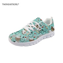 Twoheartsgirl Pink Women Sneakers Cute Spring Summer Nurse Shoes 3D Lace Up Printed Comfortable Mesh for Flats