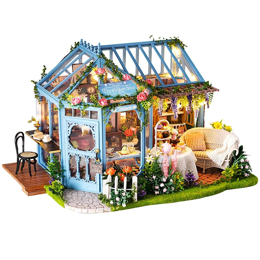CUTEBEE DIY деревянный кукольный домик кукольных домиков Миниатюрный Кукольный дом мебель комплект Casa музыка светодиодные M21