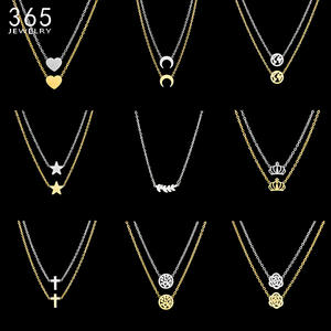 Plant Necklace Minimalist Jewelry Stainless-Steel Women Gold Love-Heart-Moon Map-Tree-Flower