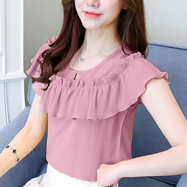 Womens Tops and Blouses Shor Sleeve Casual Chiffon Blouse Female O-Neck Work Wear Solid Color Office Shirts For Women Blusas