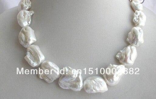 shitou 001 stunning big 22mm baroque white keshi reborn freshwater cultured pearl necklace