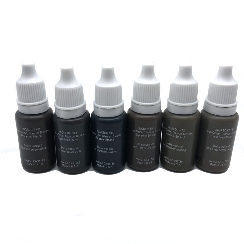 6PCS/PACK Biotouch Tattoo Ink Set Permanent Makeup Pigments 15ml 1/2OZ Cosmetic Eyebrow Eyeliner Tattoo Paint Brown Back Color